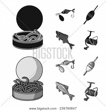 Fishing, Fish, Catch, Hook .fishing Set Collection Icons In Black, Monochrom Style Vector Symbol Sto