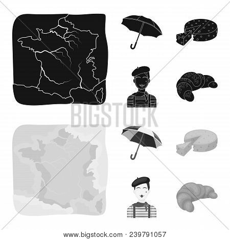Umbrella, Traditional, Cheese, Mime .france Country Set Collection Icons In Black, Monochrom Style V
