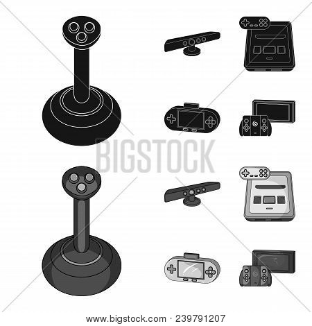 Game And Tv Set-top Box Black, Monochrom Icons In Set Collection For Design.game Gadgets Vector Symb