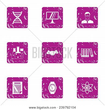 Progressive Science Icons Set. Grunge Set Of 9 Progressive Science Vector Icons For Web Isolated On