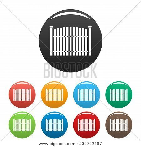 Wooden Fence Icon. Simple Illustration Of Wooden Fence Vector Icons Set Color Isolated On White