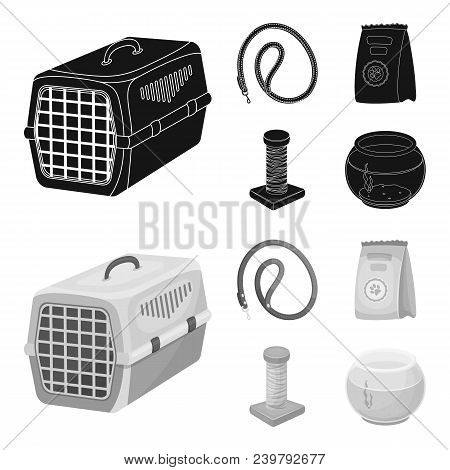 Leash, Feed And Other Zoo Store Products.pet Shop Set Collection Icons In Black, Monochrom Style Vec