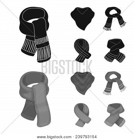 Various Kinds Of Scarves, Scarves And Shawls. Scarves And Shawls Set Collection Icons In Black, Mono