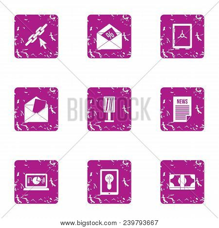Trading News Icons Set. Grunge Set Of 9 Trading News Vector Icons For Web Isolated On White Backgrou