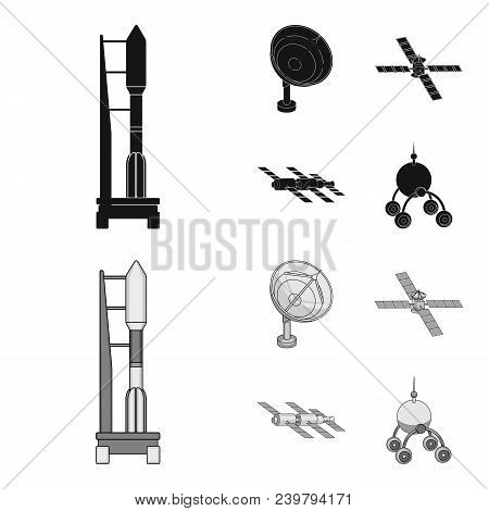 Radio Radar, Docking In Space Spacecraft, Lunokhod. Space Technology Set Collection Icons In Black,