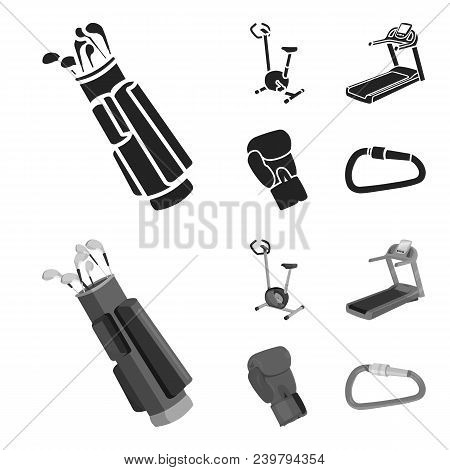 Exercise Bike, Treadmill, Glove Boxer, Lock. Sport Set Collection Icons In Black, Monochrom Style Ve