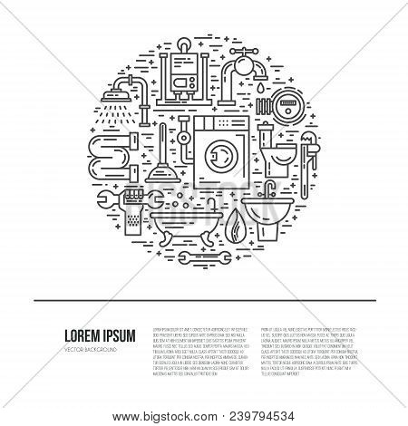 House Plumbing Concept. Line Style Vector Illustration. Plumbing Services Symbols.