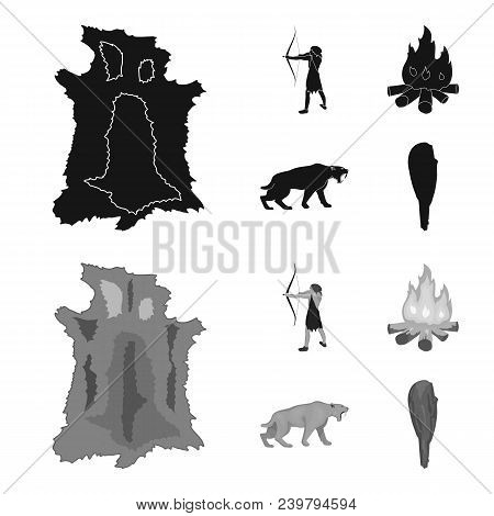 Man, Hunter, Onion, Bonfire .stone Age Set Collection Icons In Black, Monochrom Style Vector Symbol