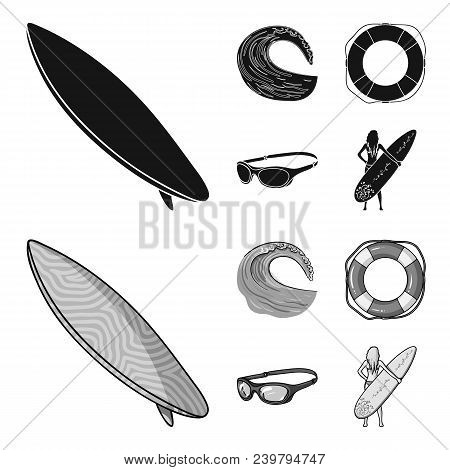 Oncoming Wave, Life Ring, Goggles, Girl Surfing. Surfing Set Collection Icons In Black, Monochrom St