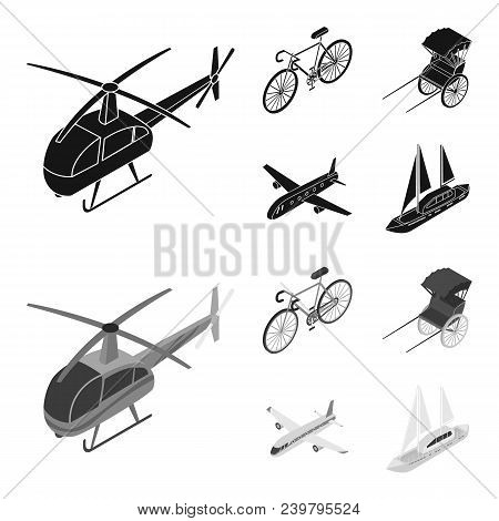 Bicycle, Rickshaw, Plane, Yacht.transport Set Collection Icons In Black, Monochrom Style Vector Symb