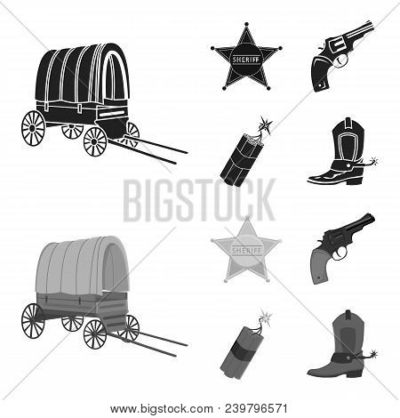 Star Sheriff, Colt, Dynamite, Cowboy Boot. Wild West Set Collection Icons In Black, Monochrom Style