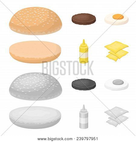 Burger And Ingredients Cartoon, Monochrome Icons In Set Collection For Design. Burger Cooking Vector