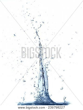 Clear water splashing. Isolated on white background. Water explosion.