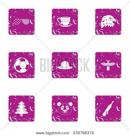 American Expanses Icons Set. Grunge Set Of 9 American Expanses Vector Icons For Web Isolated On Whit