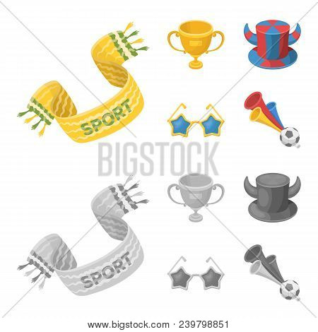 A Scarf, A Hat With Horns And Other Attributes Of The Fans.fans Set Collection Icons In Cartoon, Mon