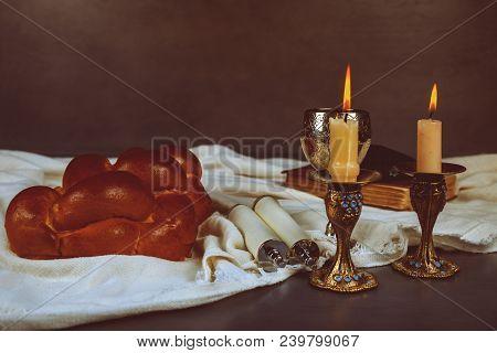 Shabbat Shalom Traditional Jewish Sabbath Ritual Homemade Freshly Baked Challah Holy Sabbath