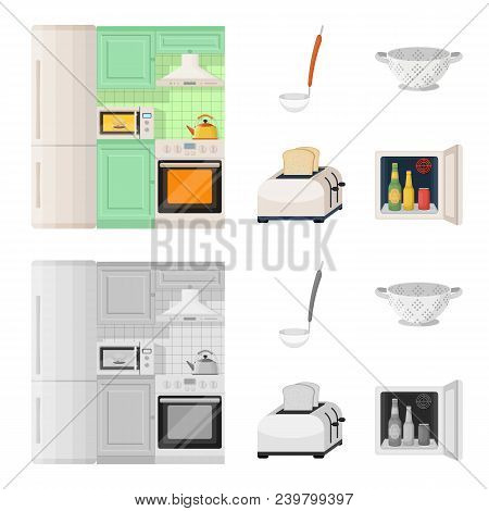 Kitchen Equipment Cartoon, Monochrome Icons In Set Collection For Design. Kitchen And Accessories Ve