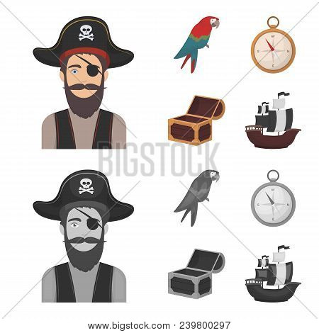 Pirate, Bandit, Hat, Bandage .pirates Set Collection Icons In Cartoon, Monochrome Style Vector Symbo