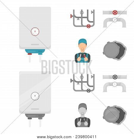 Boiler, Plumber, Ventils And Pipes.plumbing Set Collection Icons In Cartoon, Monochrome Style Vector