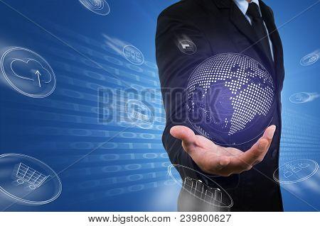 Asian Businessman Hold Virtual Digital Globe Of Data Flow From Bi,big Data Technology.professional S