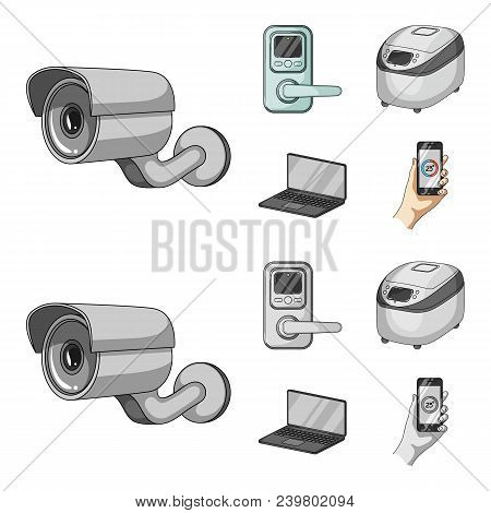 Home Appliances And Equipment Cartoon, Monochrome Icons In Set Collection For Design.modern Househol