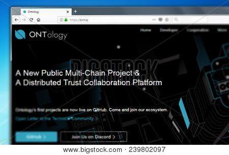 Novosibirsk, Russia - May 8, 2018 - Homepage Of Ontology Cryptocurrency On Pc Display, Web Address -