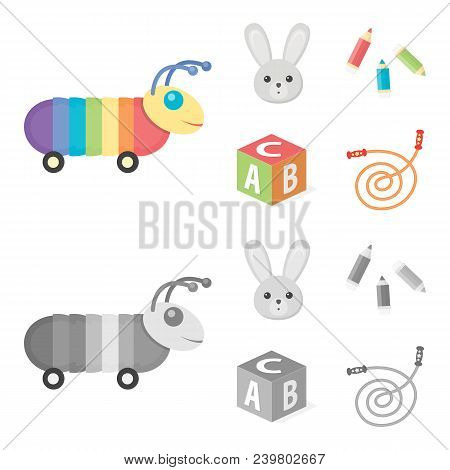 Children Toy Cartoon,monochrome Icons In Set Collection For Design. Game And Bauble Vector Symbol St