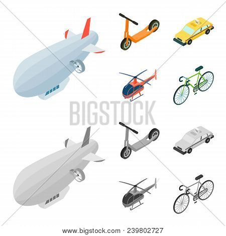 A Dirigible, A Children Scooter, A Taxi, A Helicopter.transport Set Collection Icons In Cartoon,mono