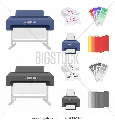 Printer, Credit Card, Color Palette.typography Set Collection Icons In Cartoon, Monochrome Style Vec