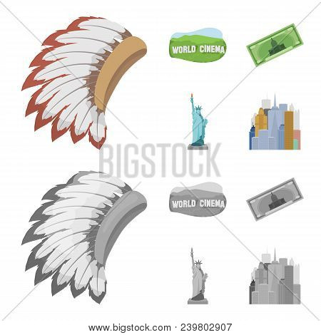 Mohavk, World Cinema, Dollar, A Statue Of Liberty.usa Country Set Collection Icons In Cartoon, Monoc