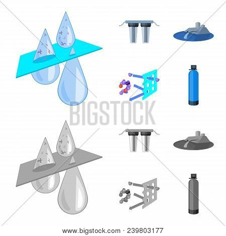 Filter, Filtration, Nature, Eco, Bio .water Filtration System Set Collection Icons In Cartoon, Monoc