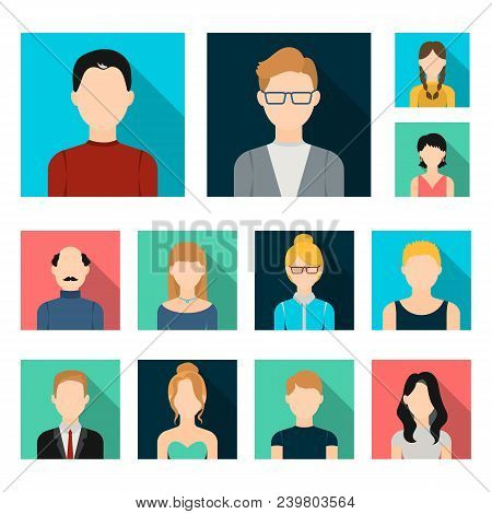 Avatar And Face Flat Icons In Set Collection For Design. A Person Appearance Vector Symbol Stock Web