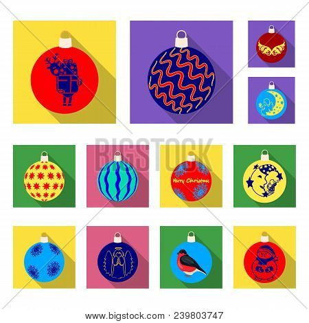 Christmas Toys Flat Icons In Set Collection For Design.new Year Balls Vector Symbol Stock Illustrati