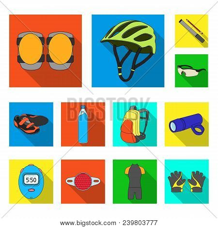 Bicycle Outfit Flat Icons In Set Collection For Design. Bicycle And Tool Vector Symbol Stock  Illust