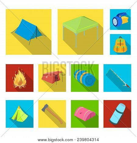 Different Kinds Of Tents Flat Icons In Set Collection For Design. Temporary Shelter And Housing Vect