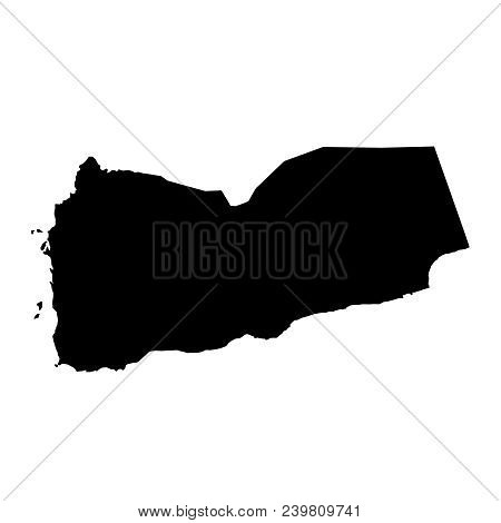 Black Silhouette Country Borders Map Of Yemen On White Background. Contour Of State. Vector Illustra