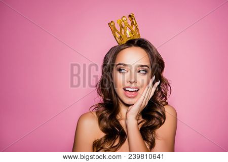 Gorgeous Charming Girlish Dreamy Lady With Ideal Face With Wonderment Grimace, Amazing Wavy Nice Mod