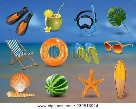 Realistic Summer Holidays Seaside Beach Icons Set Isolated Vector Illustration On Seaside Background