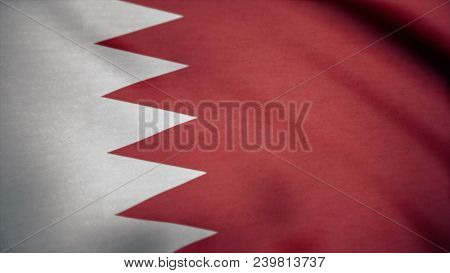 Flag Of Bahrain With Fabric Texture, Seamless Loop. Waving Flag Of Bahrain Wave.