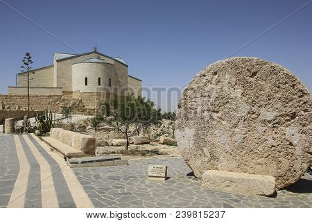 The Memorial Church Of Moses And Abu Badd - Rolling Stone Used As Door Of Byzantine Monastery On Mou