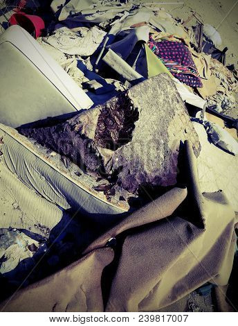 Mattresses And Rags And Garments In The Homeless Shelter After The Forced Eviction By Law Enforcemne