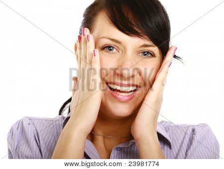 Amzed smiling woman isolated