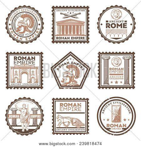 Vintage Ancient Rome Civilization Stamps Set With Inscriptions Gladiator Swords Shield Triumphal Arc