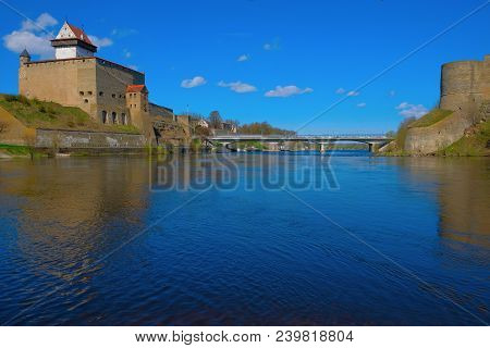 The Border Between The European Union And Russia. The Fortress Of Narva On The Estonian Side And The