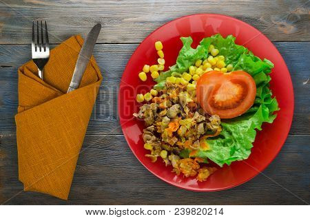 Salad With Chicken Stomachs With Carrots And Corn And Salad On A Plate. Chicken Salad With Vegetable