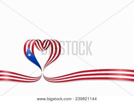 Puerto Rican Flag Heart-shaped Wavy Ribbon. Vector Illustration.