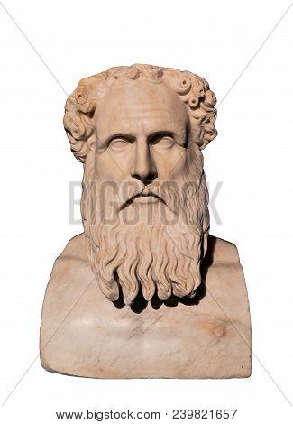 Bust Of Stoic Philosopher Zeno Of Citium (334-262 Bc)