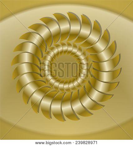 Luxurious Golden Tile With Rosette Patterns, 3d Effect. Isolated Golden Circle Rosette On Light Gold