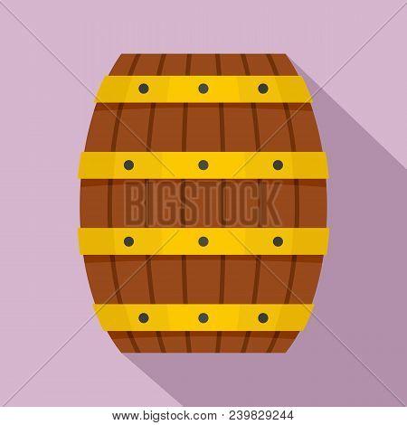 Wood Barrel Icon. Flat Illustration Of Wood Barrel Vector Icon For Web Design