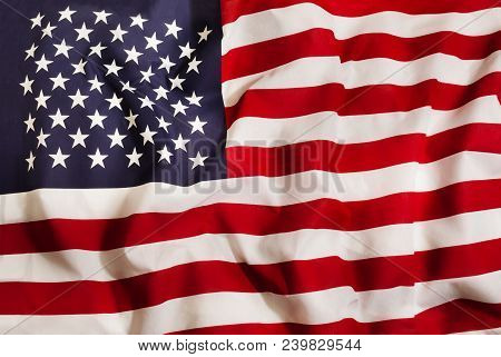 United States Of America Country Independent State National Flag Banner Close-up With Waving Fabric